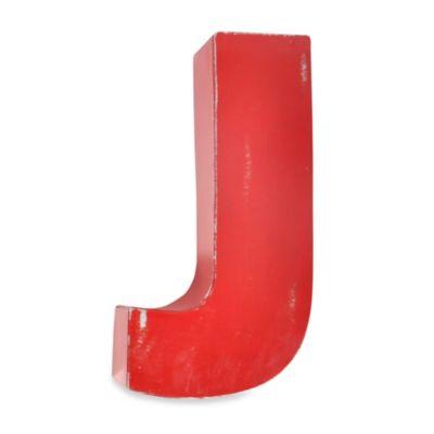 "Sleeping Partners Metal Letter ""J"" Wall Art in Red"