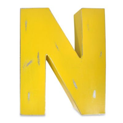 "Sleeping Partners Metal Letter ""N"" Wall Art in Yellow"
