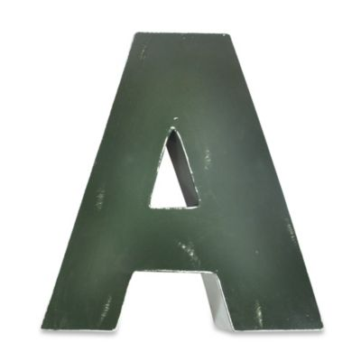 "Sleeping Partners Metal Letter ""A"" Wall Art in Green"