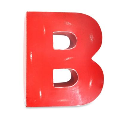 "Sleeping Partners Metal Letter ""B"" Wall Art in Red"