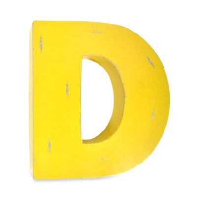 "Sleeping Partners Metal Letter ""D"" Wall Art in Yellow"