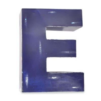 "Sleeping Partners Metal Letter ""E"" Wall Art in Royal Blue"