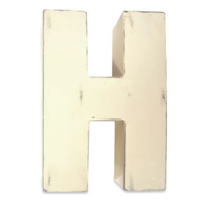 "Sleeping Partners Metal Letter ""H"" Wall Art in White"