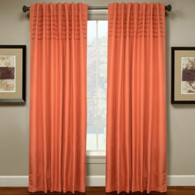 Hailey 63-Inch Pleated Window Curtain Panel in Coral