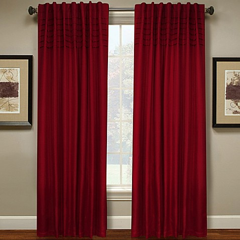 Buy Hailey 63 Inch Pleated Window Curtain Panel In Red