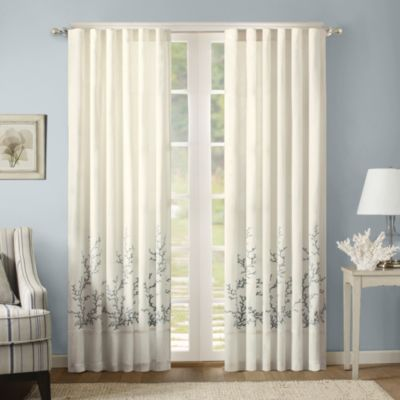 Harbor House Coastline Embroidery Window Curtain Panels in Blue