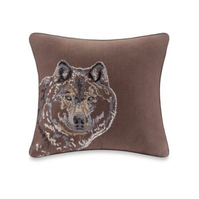 Cedar Ridge Clinton Woven Wolf Square Toss Pillow