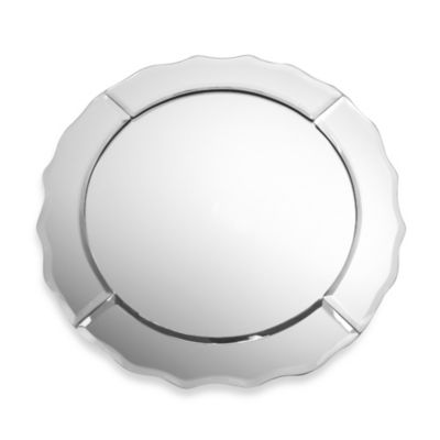 Scalloped Edge Round Mirror Charger Plates (Set of 4)