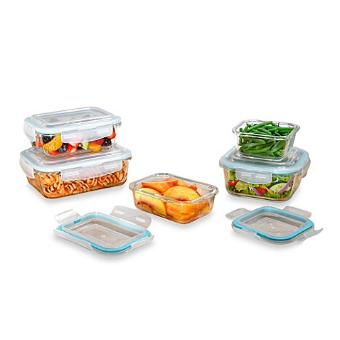 Proglass 10 piece food storage set with easy snap lids for Bathroom containers with lids