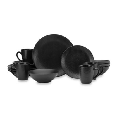 Mikasa® Gourmet Basics Ridgewood 16-Piece Dinnerware Set in Black