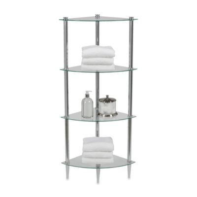 Creative Bath L'Etager 4-Shelf Glass Corner Tower in Chrome