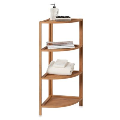 EcoStyles 4-Shelf Bamboo Corner Tower