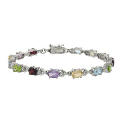 Sterling Silver Oval Multi Gemstone Bracelet