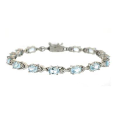 Sterling Silver Oval Blue Topaz Bracelet