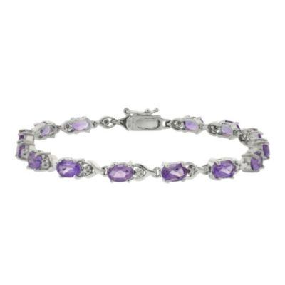 Sterling Silver Oval Amethyst Bracelet