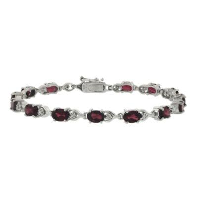 Sterling Silver Oval Garnet Bracelet