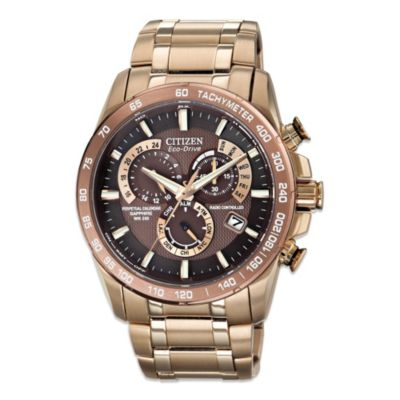 Citizen Men's Eco-Drive Rose Gold-Tone Stainless Steel Watch with Perpetual Chronograph