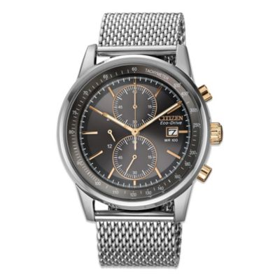 Men's Eco-Drive Mesh Chronograph Watch