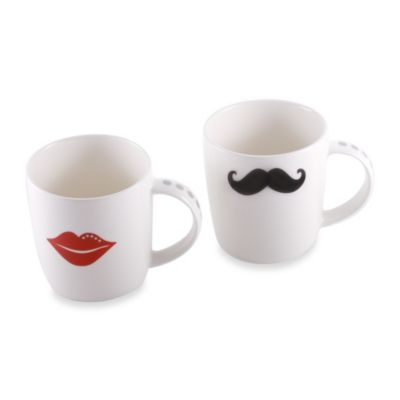 Oleg Cassini Kiss and Tell 10-Ounce Mugs (Set of 2)
