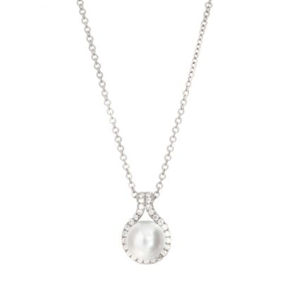 CRISLU Sterling Silver .47 cttw Diamond, 7.5-8.0mm Freshwater Cultured Pearl Pendant