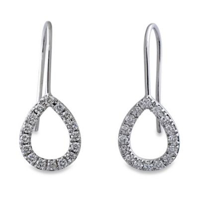 Violet and Sienna 14K White Gold Open Pear Shape .48 cttw Diamond Earrings