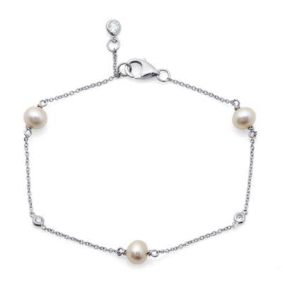 CRISLU Freshwater Cultured Pearl and Cubic Zirconia Triplet Bracelet
