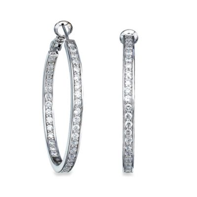"CRISLU Cubic Zirconia 1-1/4"" Inside Out Hoop Earrings"