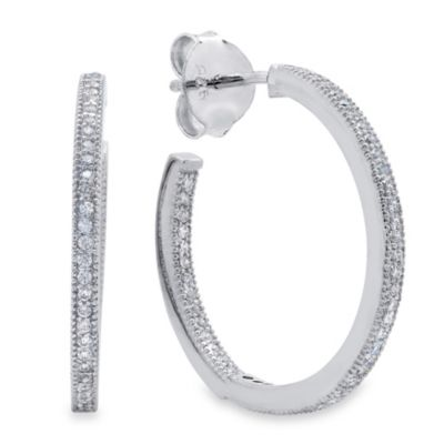 "CRISLU Cubic Zirconia 3/4"" Hoop Earrings"