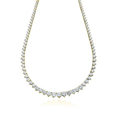CRISLU Cubic Zirconia Tennis Necklace in 18K Gold Vermeil