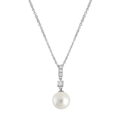 CRISLU Freshwater Cultured Pearl and Cubic Zirconia Multi Square Drop Pendant