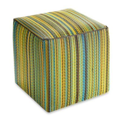 Fab Habitat Cancun Cube Pouf in Lemon/Apple Green