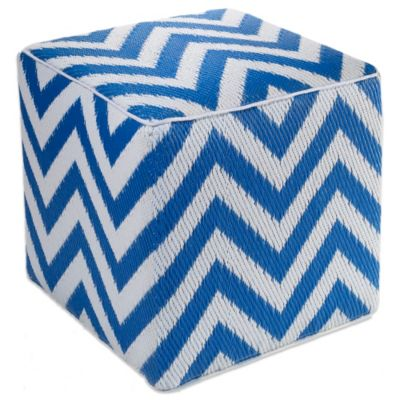 Fab Habitat Laguna Cube Pouf in Orange Peel/White