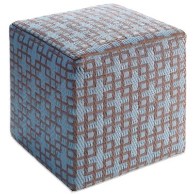Fab Habitat Rheinsberg Cube Pouf in Powder Blue and Warm Taupe