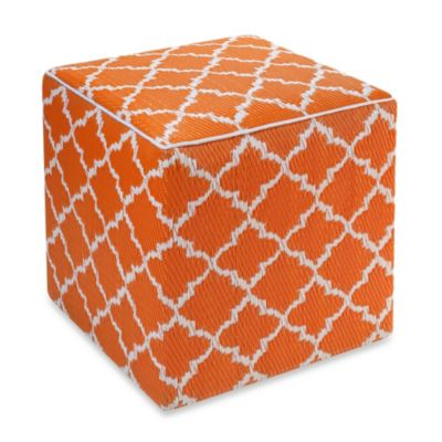 Fab Habitat Tangier Cube Pouf in Orange Peel/Rouge Red