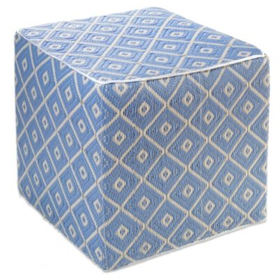 Fab Habitat Veria Cube Pouf in Faded Denim and White Sand
