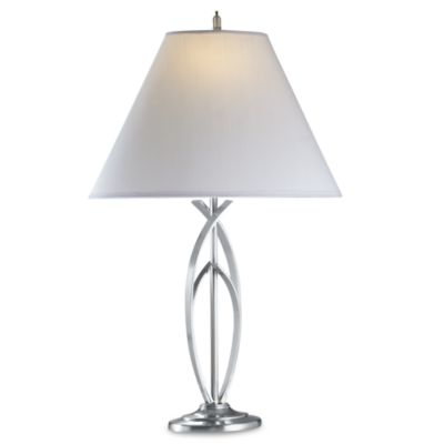 Curve Brushed Steel Table Lamp With CFL Bulb