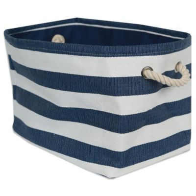 Striped Medium-Sized Storage Bin in Seaside Blue/White