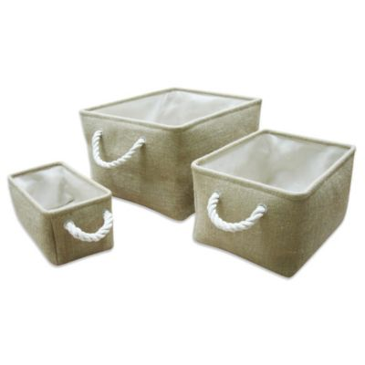Burlap Storage Totes (Set of 3)