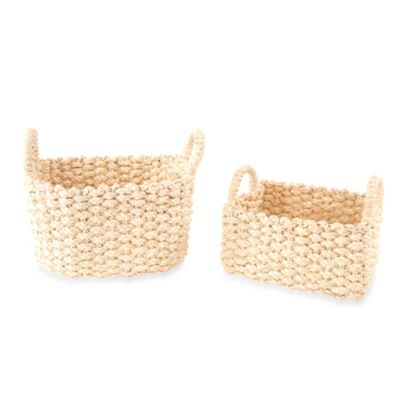 Long Beach Braided Maize Storage Baskets (Set of 2)