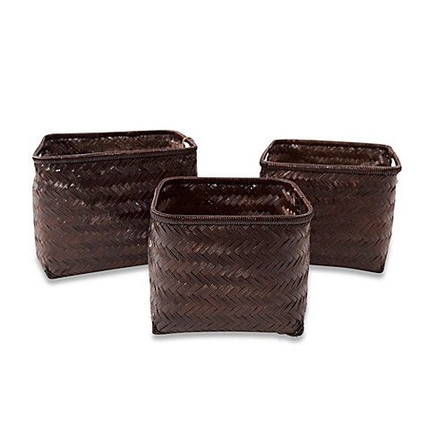 Morgana Bamboo Storage Baskets in Espresso (Set of 3)