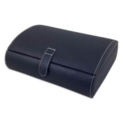 Mele & Co. Parker Faux Leather Watch Case in Black