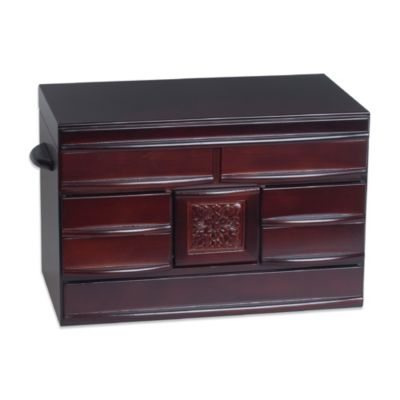 Mele & Co. Empress Wooden Jewelry Box in Dark Walnut