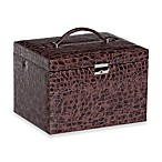 Mele & Co. Dahlia Drop Front Locking Jewelry Box with Croco Faux Leather in Brown