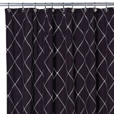 Wellington 72-Inch x 96-Inch Shower Curtain in Black/White