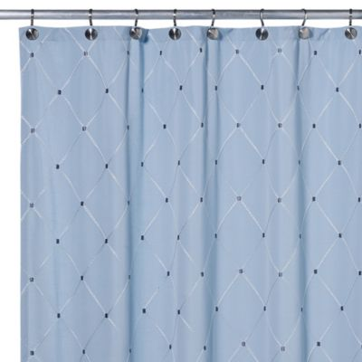 Wellington 54-Inch x 78-Inch Fabric Shower Curtain in Blue