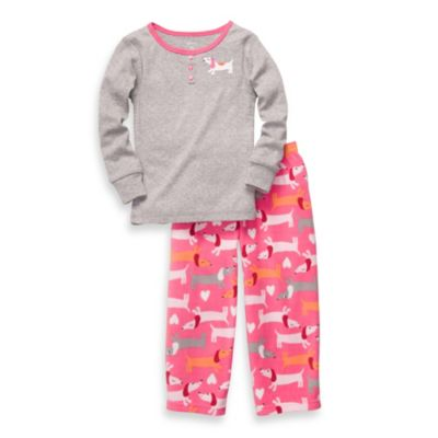 Carter's® Grey Dachshund Cotton and Fleece 2-Piece PJs