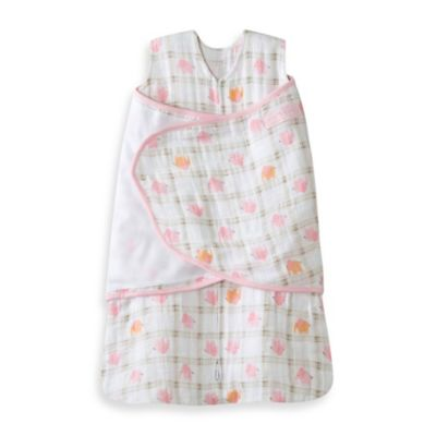 HALO® SleepSack® Newborn Cotton Muslin Swaddle in Pink Elephant