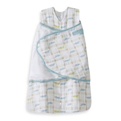 HALO® SleepSack® Newborn Cotton Muslin Swaddle in Blue Alligator