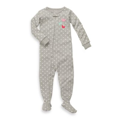 Carter's® Snug Fit Grey Polka Dot 1-Piece Cotton Footed PJs