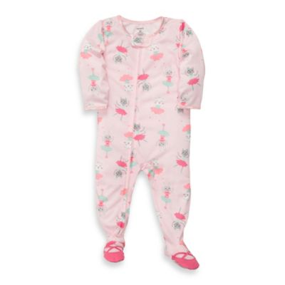Carter's® Pink Cat Jersey 1-Piece Footed PJs